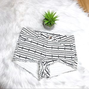H&M Aztec Black and White Cutoff Shorts